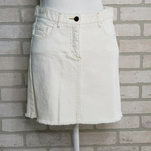 Theory Denim Skirt Off-White Raw Hem Sz 4